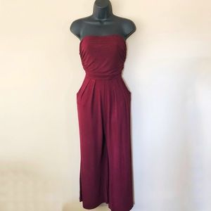 Agaci Strapless Capri Jumpsuit with Pockets